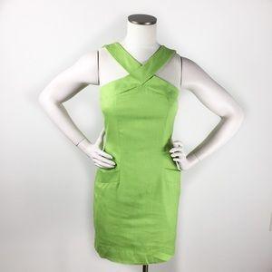 Vintage Ann Taylor Y-Neck Sheath Dress Lime Green